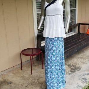 Cynthia Rowley maxi skirt medium Paisley blue